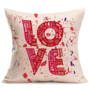 Love Tie Dye Printed Square Pillow Case - RED W18 INCH * L18 INCH