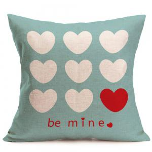 Heart Printed Square Decorative Pillow Case -