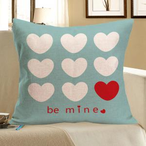 Heart Printed Square Decorative Pillow Case