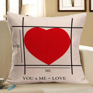 Red Heart Pattern Square Pillow Case