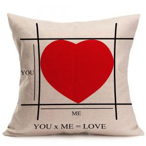 Red Heart Pattern Square Pillow Case -