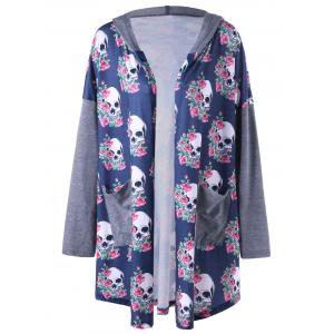 Plus Size Hooded Skulls Cardigan