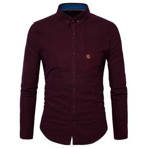 Button Down Chest Pocket Polka Dot Shirt - Wine Red - M