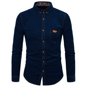 Button Down Polka Dot Pocket Corduroy Shirt