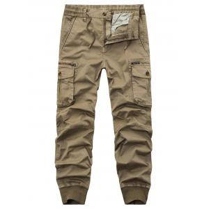 Drawstring Zipper Fly Beam Feet Cargo Pants