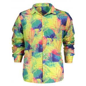 Button Up Leave Print Long Sleeve Shirt