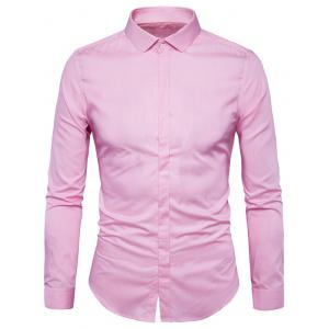 Long Sleeve Covered Button Plain Shirt - Light Pink - L