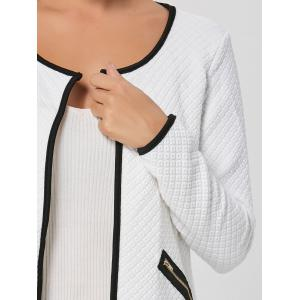 Stylish Scoop Neck Long Sleeve Embossed Jacket For Women -
