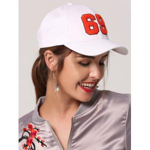 Patchwork Number Baseball Cap - White