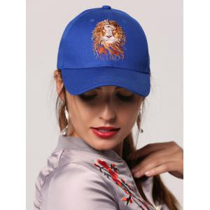 Lion Head Embroidered Baseball Cap - Royal