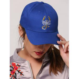 Sunscreen Scorpion Embroidered Baseball Cap - Royal