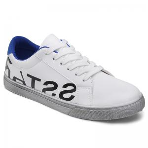Graphic Faux Leather Sneakers - Blue - 40