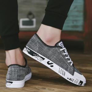 Tie Up Letter Print Casual Shoes - GRAY 40