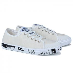 Tie Up Letter Print Casual Shoes - WHITE 43