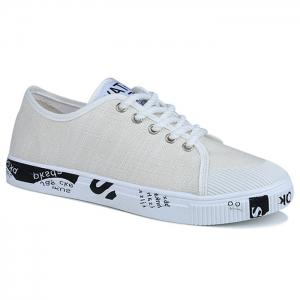Tie Up Letter Print Casual Shoes - White - 40