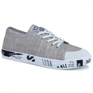 Tie Up Letter Print Casual Shoes - Khaki - 42