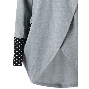 Polka Dot Cowl Neck High Low Tunic Sweatshirt -