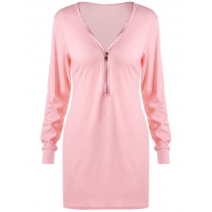 Zipper Neck Longline Sweatshirt