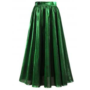 High Waist Metallic Midi Skirt - Green - Xl