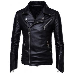 Zips Pleated Asymmetrical Zip Biker Jacket