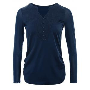 Lace Half Buttons Panel Long Sleeve T-shirt