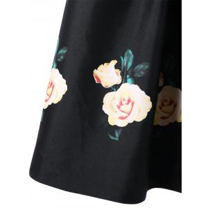 Floral Single Breasted Sleeveless Knee Length Dress - BLACK M