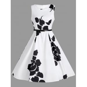 A Line Printed Sleeveless Dress