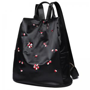 Zippers Embroidered Nylon Backpack -