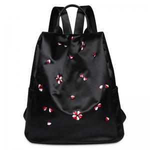 Zippers Embroidered Nylon Backpack