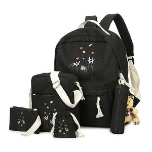 Animal Printed 5 Pieces Canvas Backpack Set