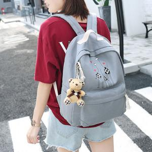 Animal Printed 5 Pieces Canvas Backpack Set -