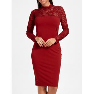 Long Sleeve Lace Insert Bodycon Dress