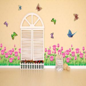 Tulip Butterfly Living Room Wall Decal - PINK