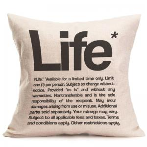 Linen Letter Life Printed Throw Pillow Case -