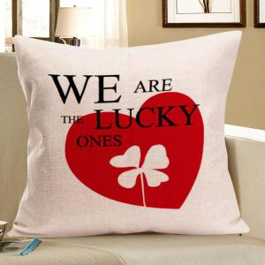 Four-Leaf Clover Heart Printed Square Linen Pillow Case