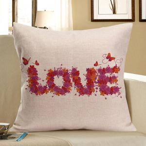 Love Flowers Printed Square Pillow Case