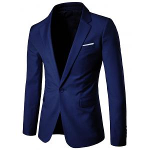 Chest Pocket One Button Business Blazer - Deep Blue - 3xl