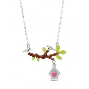 Bird Branch Love House Pendant Embellished Necklace