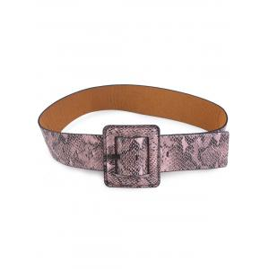 Faux Leather Rectangle Pin Buckle Snakeskin Belt