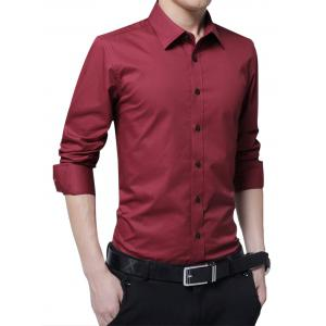Easy Care Long Sleeve Shirt - Wine Red - M