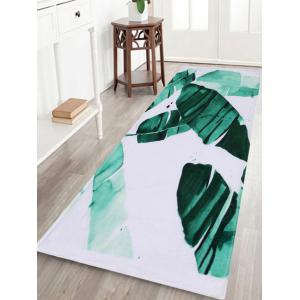 Watercolor Leaf Coral Velvet Non-Slip Bath Rug