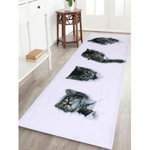 Home Entrance Cute Cats Coral Velvet Rug - White - W24 Inch * L71 Inch