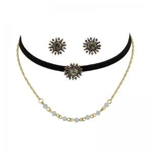 Beaded Sunflower Choker Necklace and Earrings