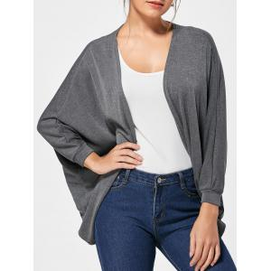 Batwing Knitted Collarless Cardigan