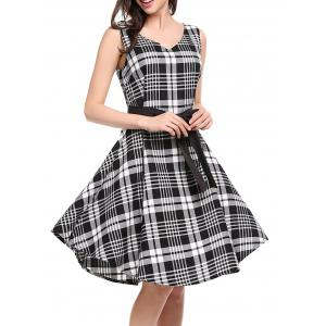 V Neck Plaid Swing Dress - Black White - 2xl