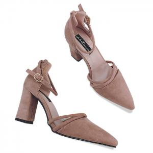 Chunky Heel Ankle Strap Pumps - Pink - 38
