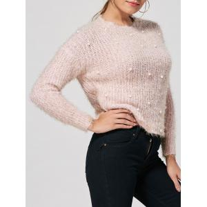 Faux Pearl Embellished Fuzzy Sweater - Light Pink - One Size