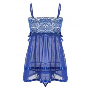 Mini Lace Sheer Slip Babydoll - Blue - M