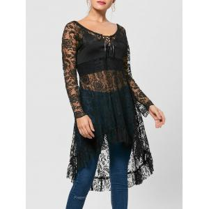 Lace Up Longline High Low Hem Blouse - Black - 2xl