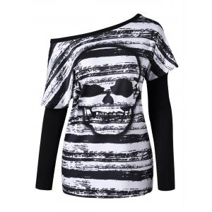 Skull Pattern T-shirt with Oversleeves